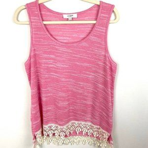 Umgee Tank Top With Crochet Hem Heathered Pink Med